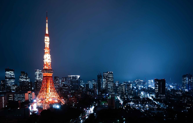Photo wallpaper building, home, Japan, Tokyo, Tokyo, Japan, night city, tower, Tokyo Tower