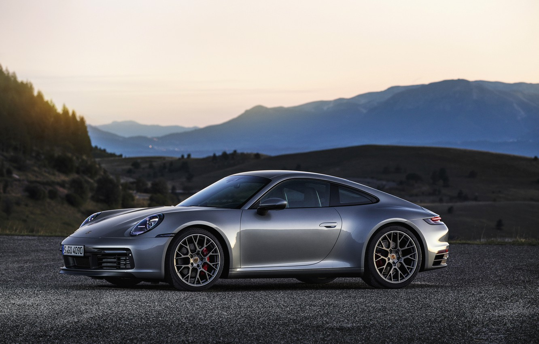 Photo wallpaper asphalt, mountains, hills, coupe, 911, Porsche, Carrera 4S, 992, 2019