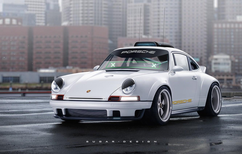 Photo wallpaper Auto, The city, White, 911, Porsche, Machine, Art, The front, Singer, Transport & Vehicles, Porsche …