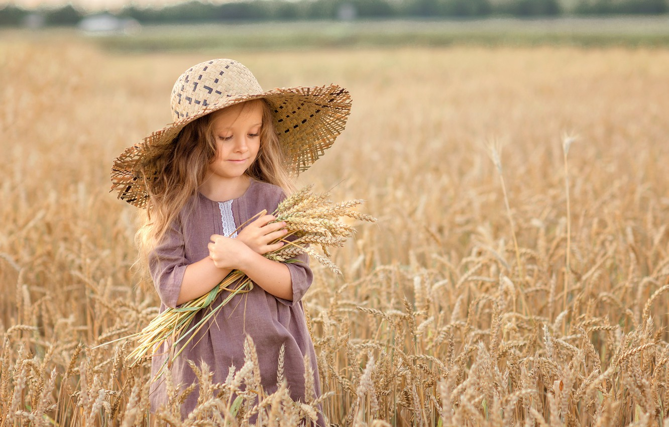 Photo wallpaper field, nature, hat, dress, girl, ears, child, Victoria Dubrovskaya