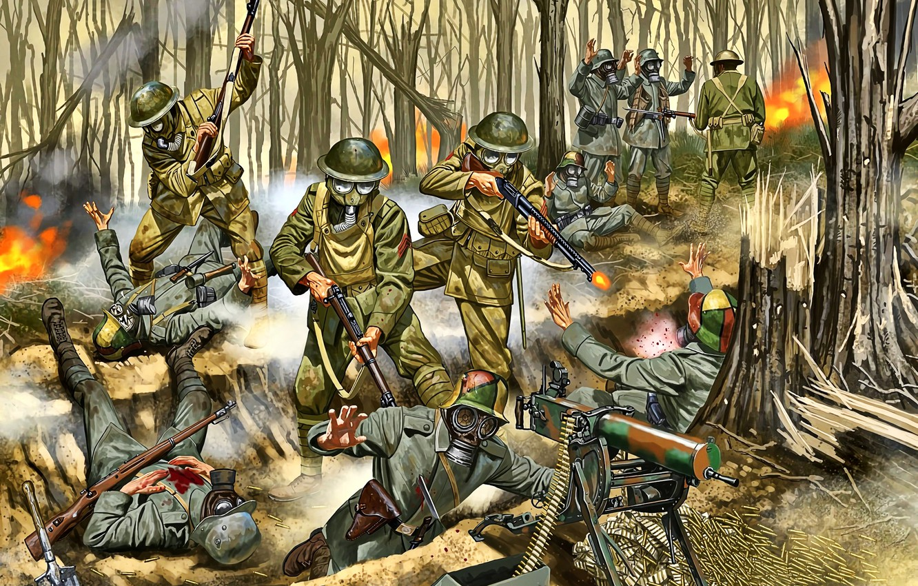 Photo wallpaper Battle, gas mask, Soldiers, machine gun, the trench, Western front, MG 08, The first World …