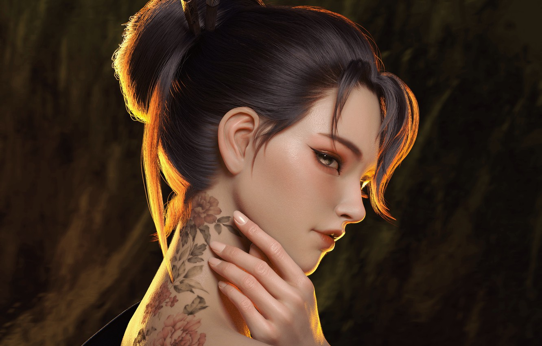 Photo wallpaper look, girl, Japanese, hand, tattoo, art