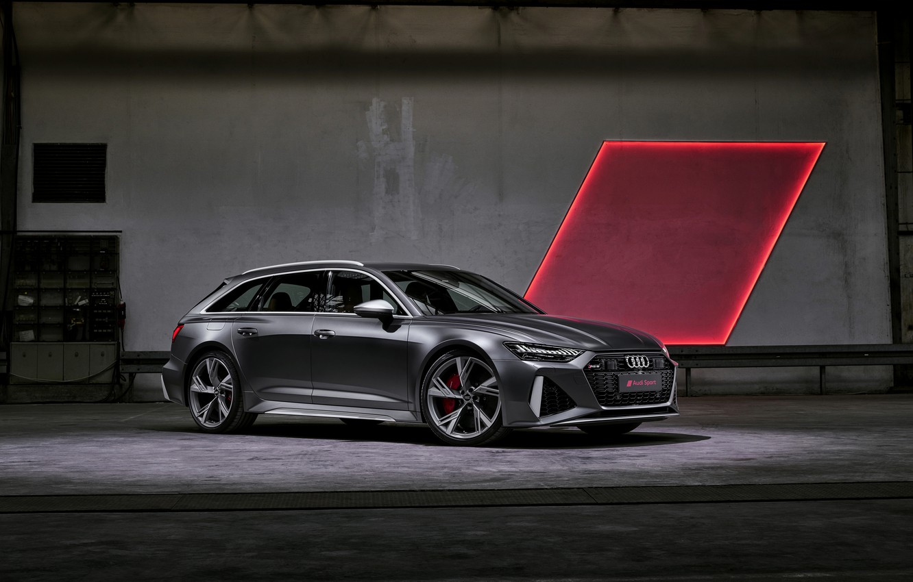 Photo wallpaper light, Audi, universal, RS 6, 2020, 2019, dark gray, V8 Twin-Turbo, RS6 Avant