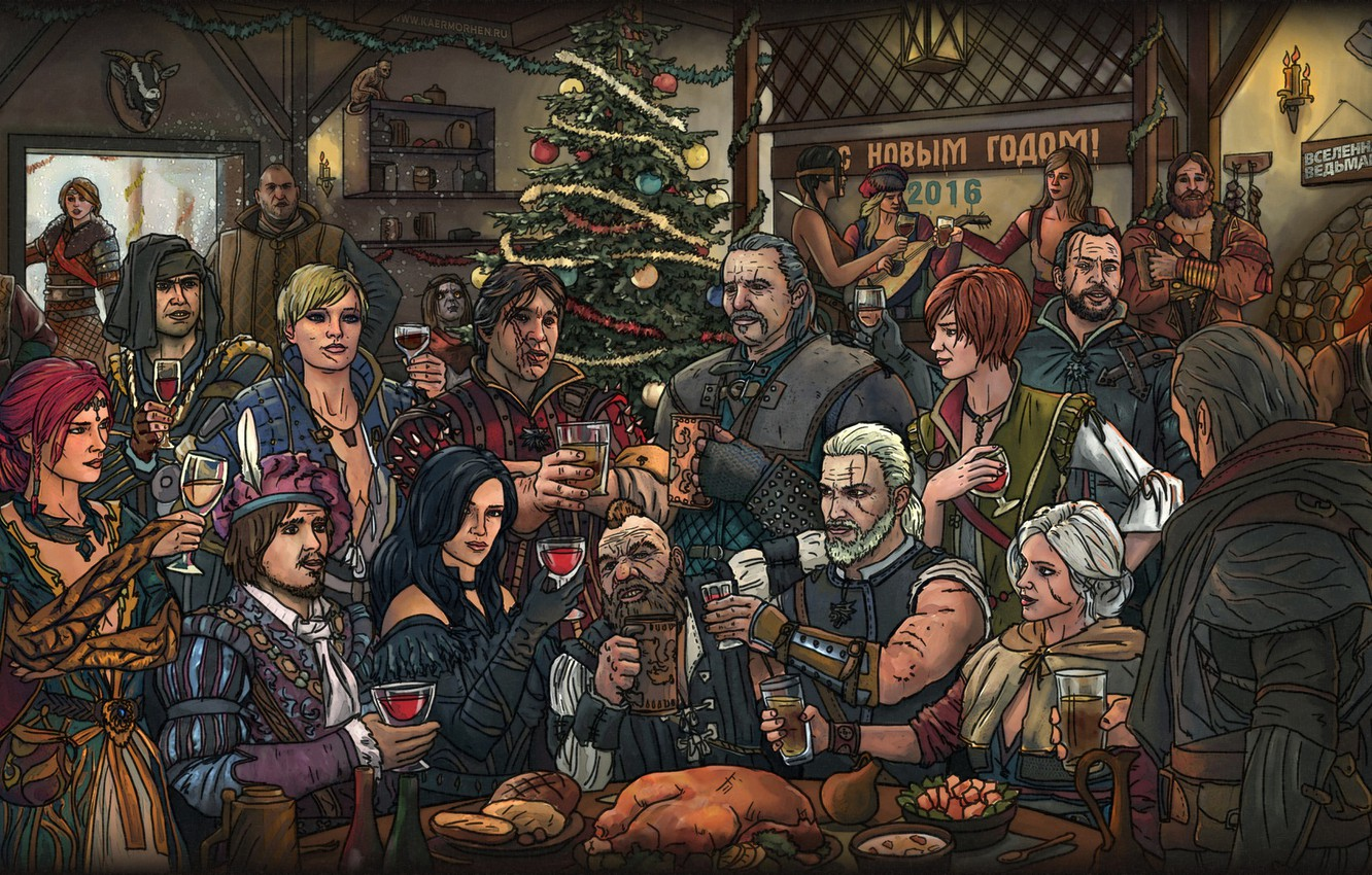 Photo wallpaper new year, Geralt, The Witcher 3: Wild Hunt, Bianca, The Witcher 3, Zoltan, The Witcher …