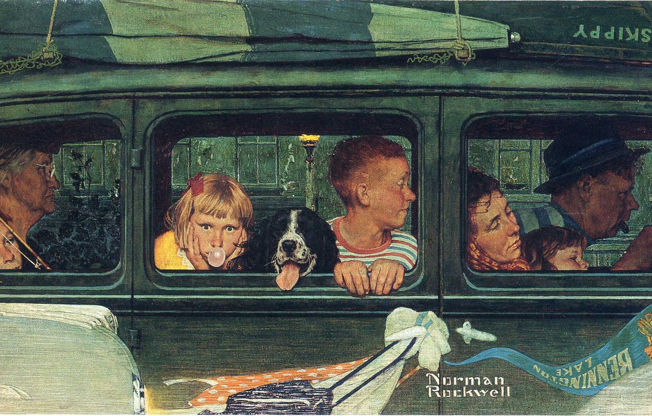Photo wallpaper machine, boat, dog, family, trip, Norman Rockwell, Illustration