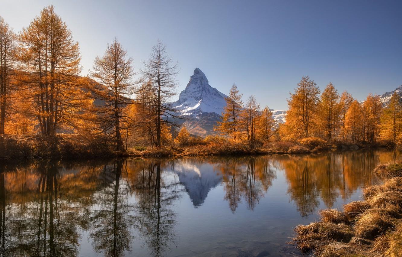 Photo wallpaper Switzerland, Autumn, Mountains, Lake, Matterhorn