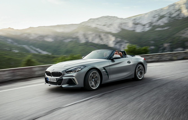 Photo wallpaper grey, speed, BMW, the fence, Roadster, mountain road, BMW Z4, M40i, Z4, 2019, G29
