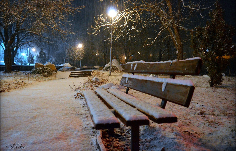 Photo wallpaper Winter, Night, Snow, Bench, Lights, Park, Winter, Night, Park, Snow