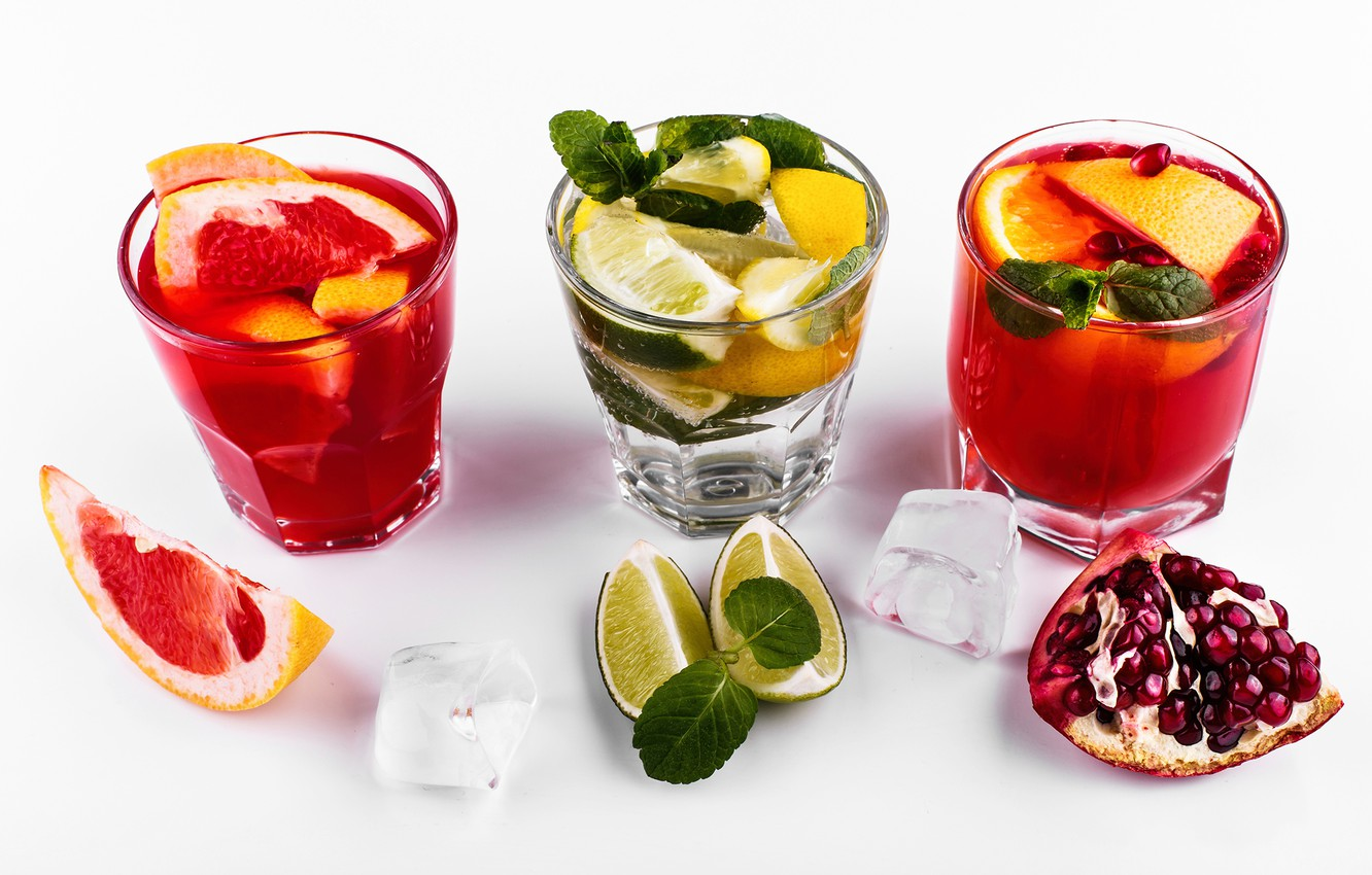 Photo wallpaper ice, alcohol, lime, drink, grapefruit, garnet