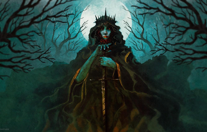 Photo wallpaper the sky, girl, trees, night, the moon, sword, by Anato Finnstark
