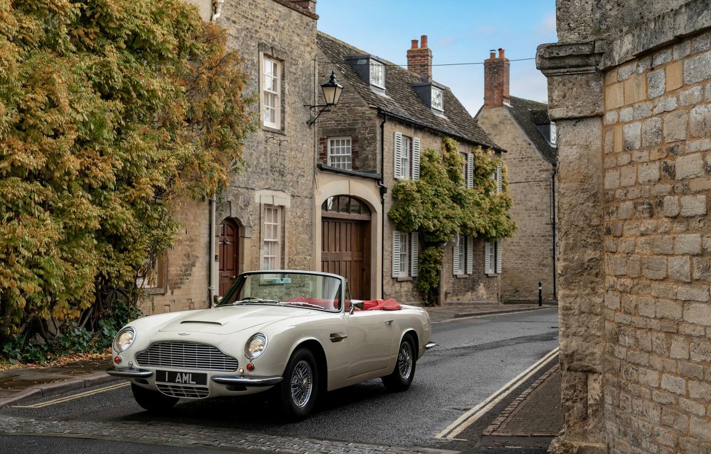 Photo wallpaper Aston Martin, street, convertible, 1970, 2018, Heritage EV Concept, DB6 Mark II Volante