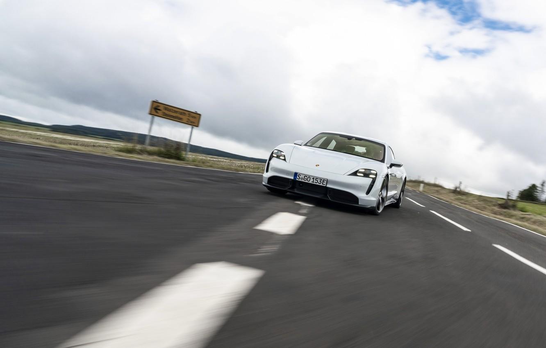 Photo wallpaper markup, speed, Porsche, Turbo S, 2020, Taycan