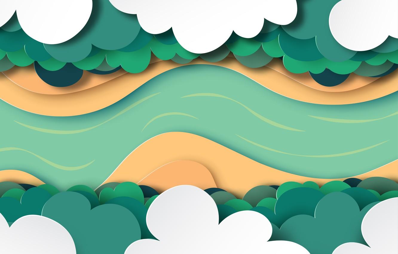 Photo wallpaper forest, paper, vector, obloka