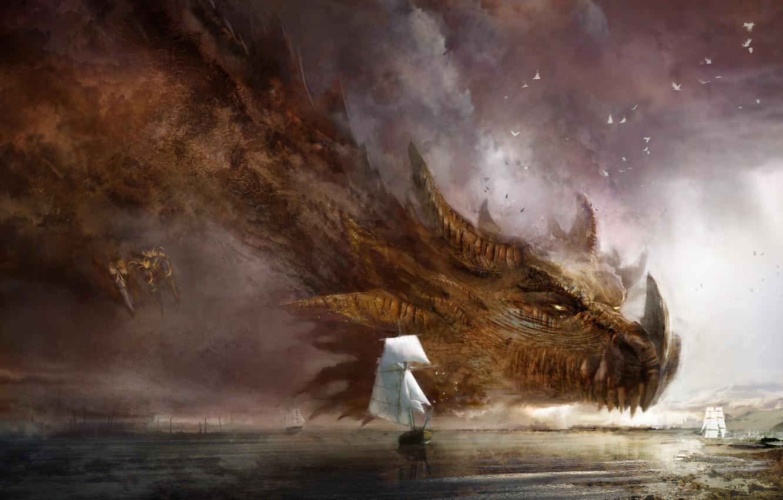 Photo wallpaper Sea, Dragon, Ships, Fantasy, Dragon, Art, Guild Wars 2, Fiction, Daniel Dociu, Ship, Giant, Dragons, …