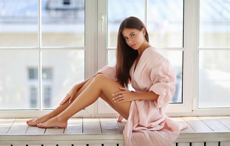 Photo wallpaper look, girl, Alina, window, legs, Bathrobe, Dmitry Arhar, Alina Sabirova