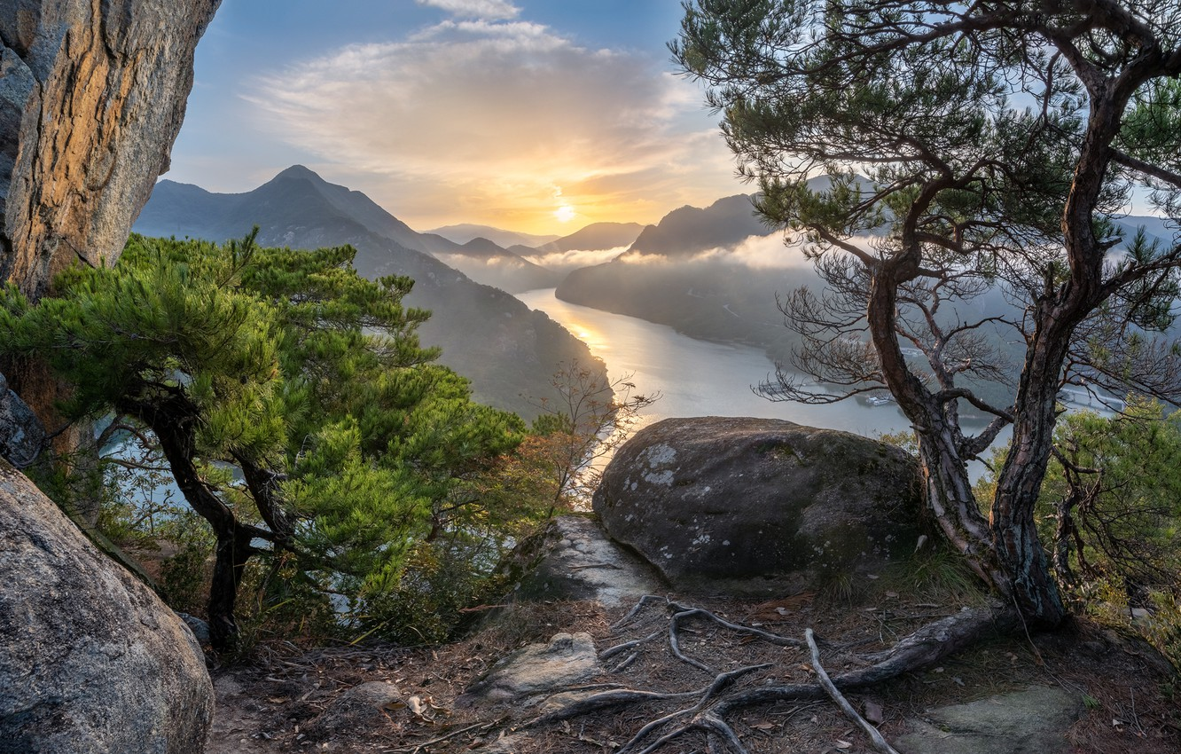 Photo wallpaper trees, sunset, mountains, river