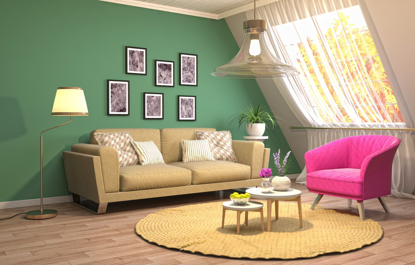 Photo wallpaper design, style, interior, living room