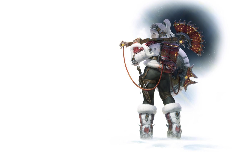 Photo wallpaper winter, girl, warrior, Illustrator, AGOTO -, Frost - Mercenary_Axe Hunter