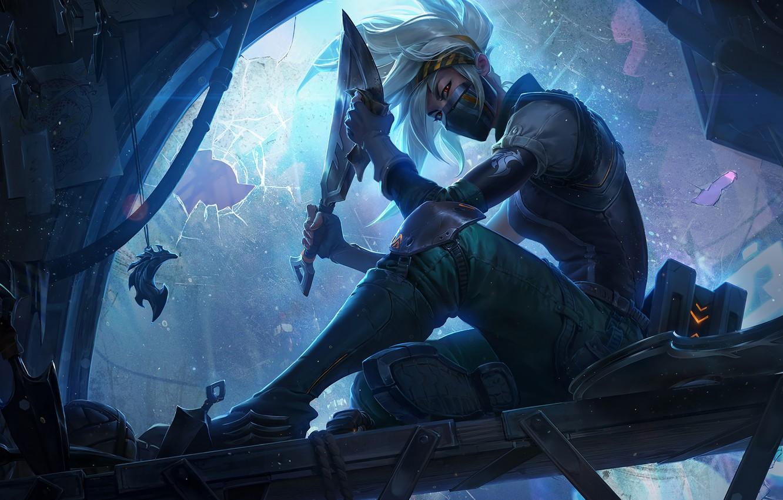 Photo wallpaper look, girl, blade, knife, art, Akali, League of Legends, Rogue Assassin