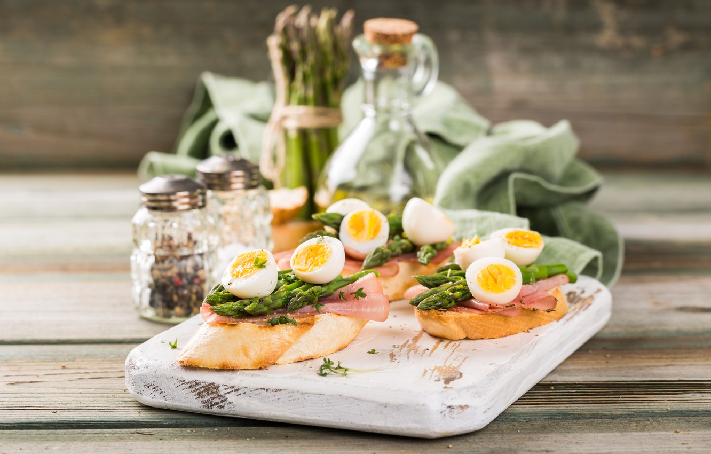 Photo wallpaper bread, sandwich, sandwiches, ham, Iryna Melnyk, quail eggs, asparagus