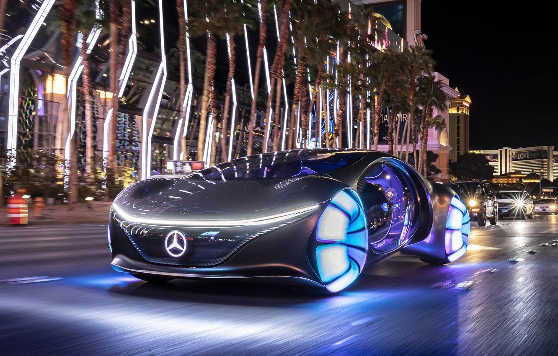 Photo wallpaper the city, street, speed, Vision, Mercedes Benz, street, speed, 2020, AVTR, Mercedes Benz Vision AVTR, …