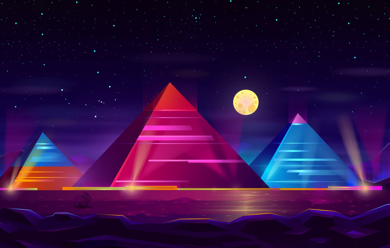 Photo wallpaper Color, Night, Stars, The moon, Neon, Pyramid, Pyramid, Moon, Stars, Color, Night, Egypt, Neon, Surreal, …