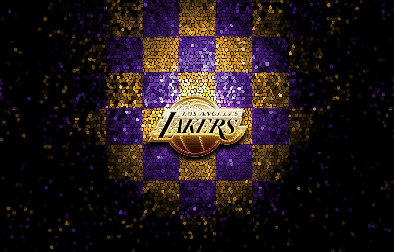 Wallpaper Wallpaper Sport Logo Basketball Nba Los Angeles Lakers Glitter Checkered Images For Desktop Section Sport Download