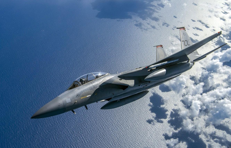 Photo wallpaper Sea, Fighter, USAF, Obloka, F-15C Eagle