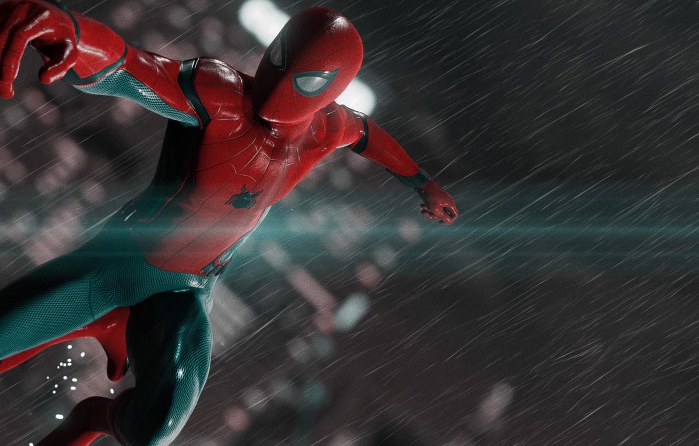 Wallpaper New York Rain Spider Man Ps4 Playstation 4 Pro