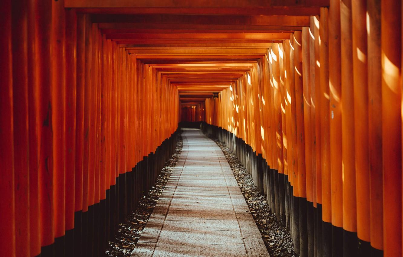 Photo wallpaper Japan, Wallpaper, Temple, Red corridor