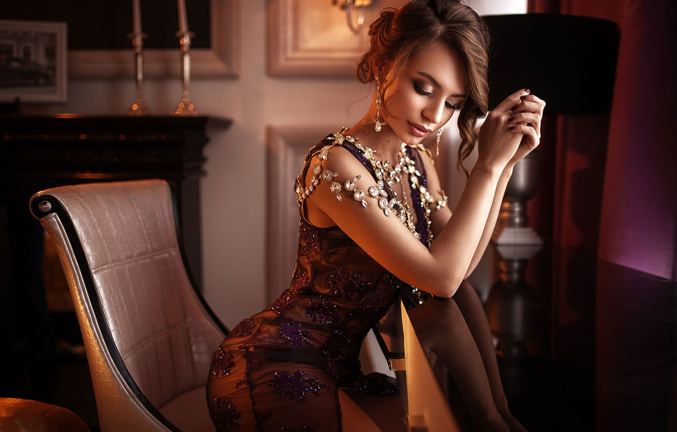 Photo wallpaper girl, decoration, pose, style, chair, hands, makeup, dress, hairstyle, closed eyes, Max Kuzin, Kristina Zolotareva