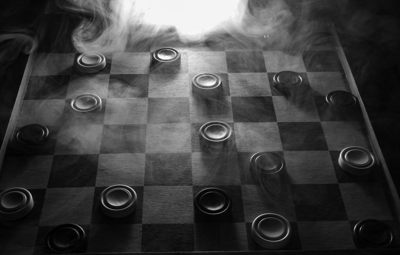 Photo wallpaper smoke, Board, checkers