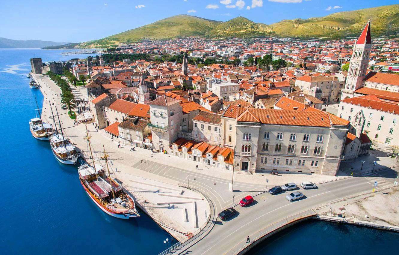 Photo wallpaper road, sea, home, yachts, panorama, Croatia, Trogir