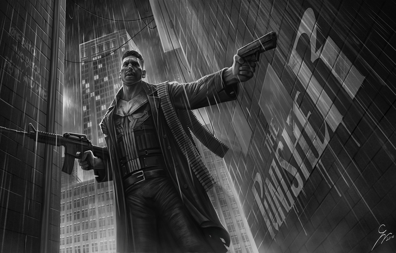 Photo wallpaper Figure, Art, Punisher, Marvel, Castle, Castle, Marvel Comics, Comics, Illustration, The Punisher, The Punisher, Frank …