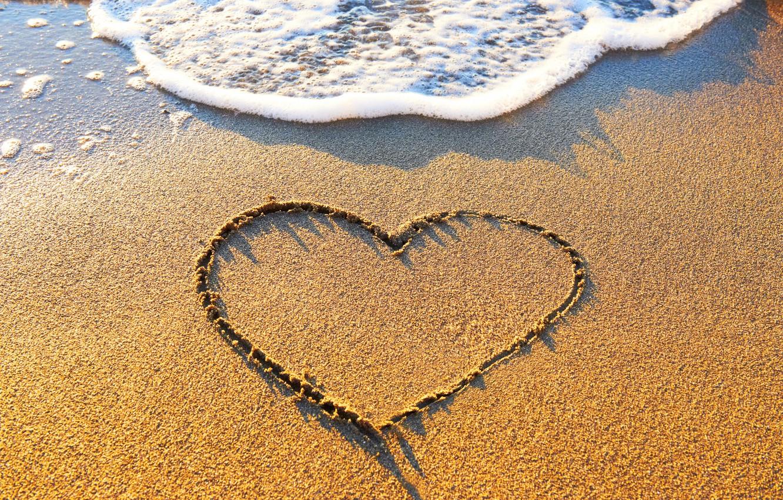 Photo wallpaper sand, beach, love, heart, love, beach, sea, heart, romantic, sand, wave