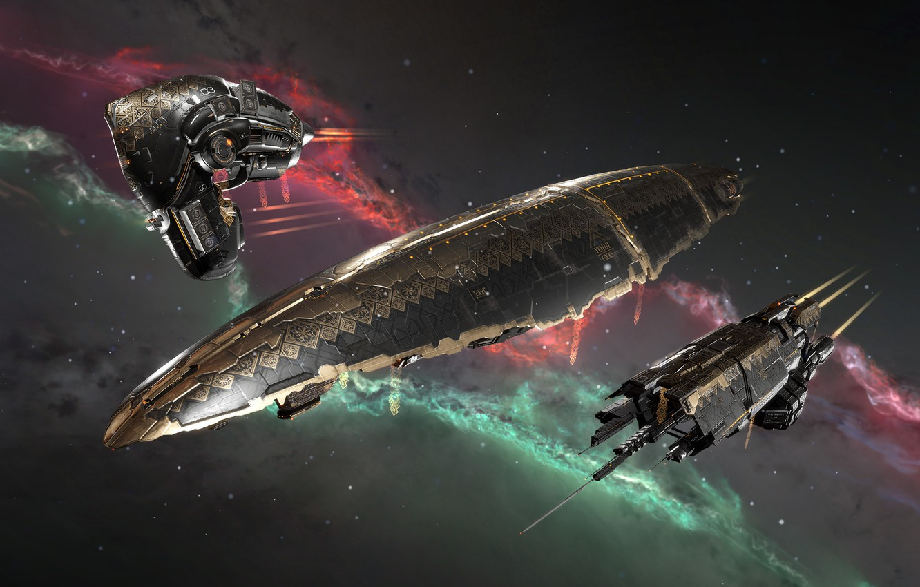 Photo wallpaper nebula, gold, Space, space, ornament, spaceship, eve online, space ship, coooper