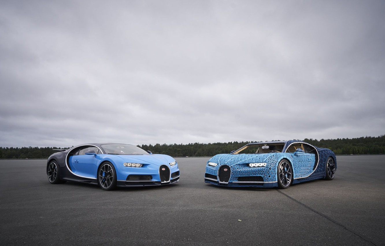 Photo wallpaper Blue, Lego, Gipercar, Bugatti Chiron