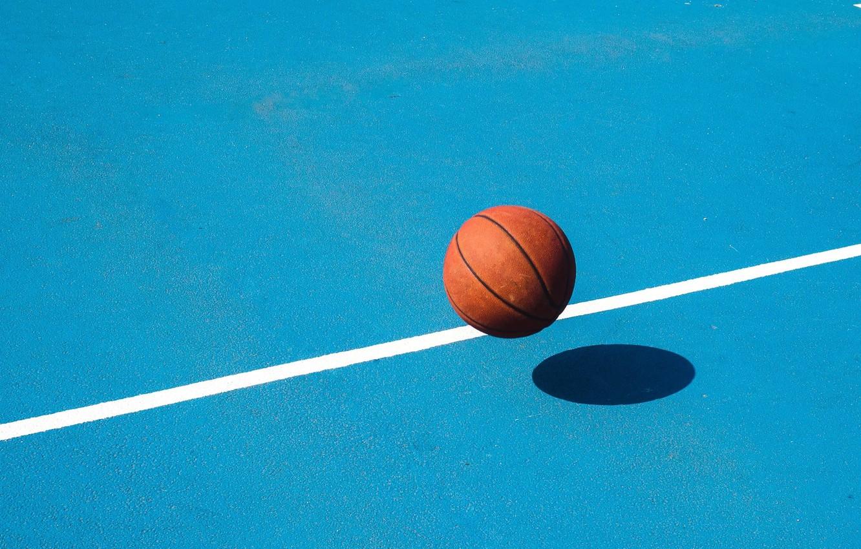 Photo wallpaper the ball, minimalism, basketball, Playground, basketball