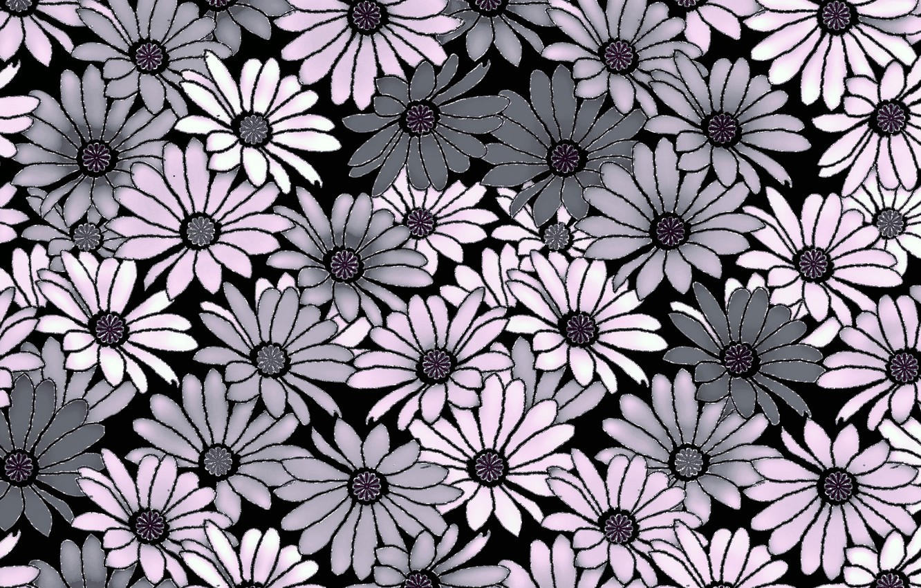 Wallpaper Flowers Grey Background Pink Background Pattern