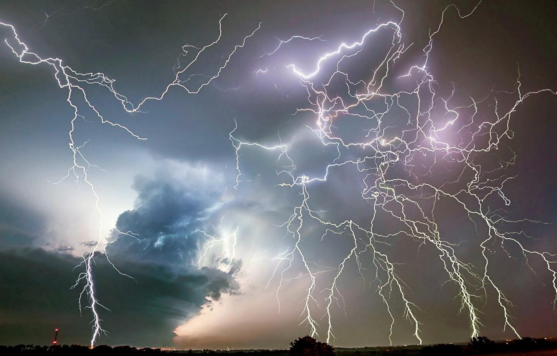 Wallpaper Clouds Sky Horizon Lightning Storm Thunder