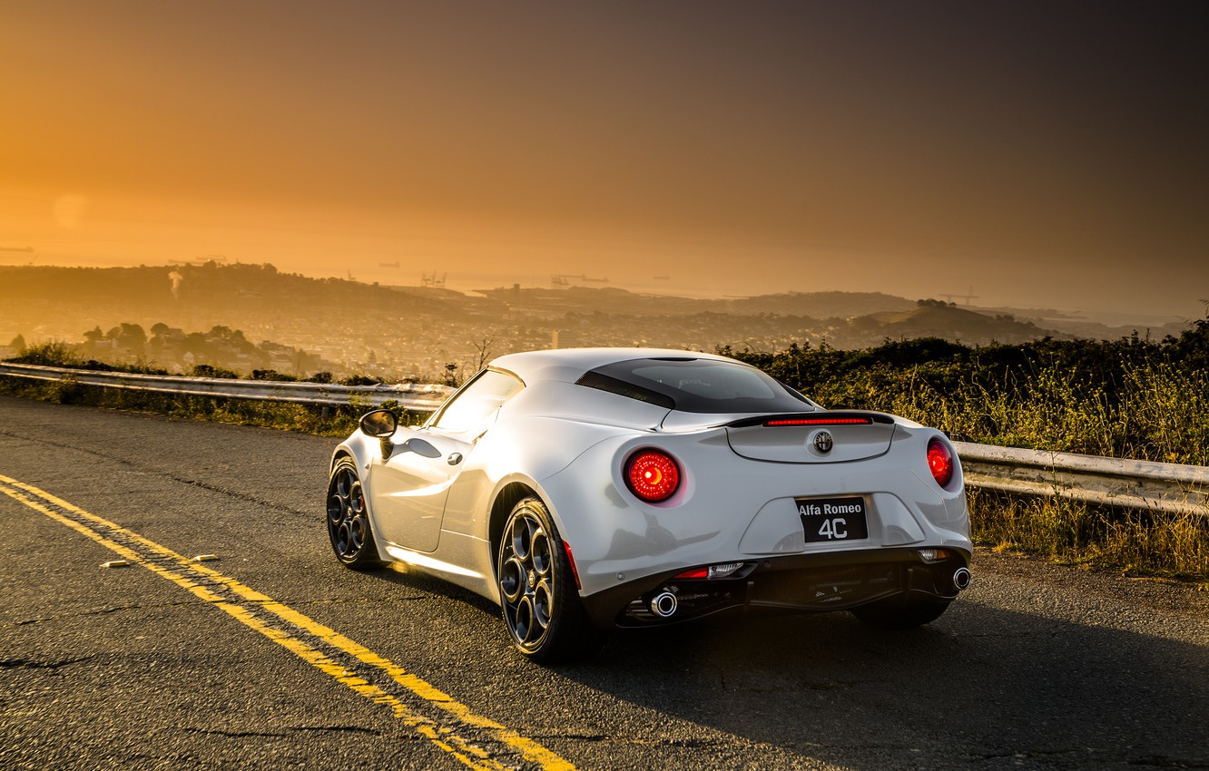 Photo wallpaper the sky, Sunset, Road, The city, White, Alfa Romeo, Alfa, Romeo, Alfa Romeo, Alfa Romeo …