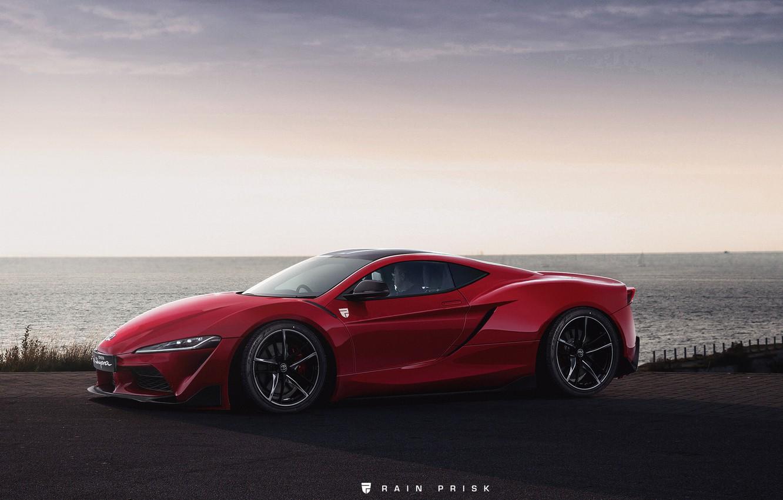 Photo wallpaper Red, The ocean, Sea, Auto, Machine, Coast, Supra, Toyota Supra, Concept Art, Rain Prisk, by …