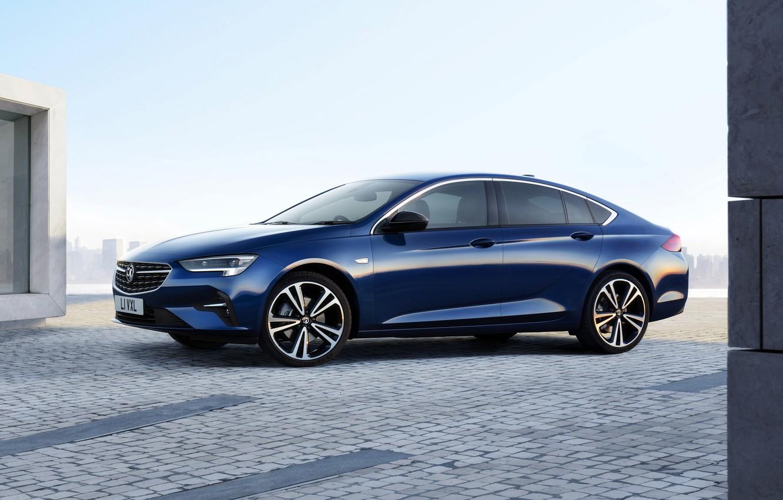 Photo wallpaper blue, Insignia, Opel, sedan, side view, Vauxhall, 2020, Insignia Grand Sport
