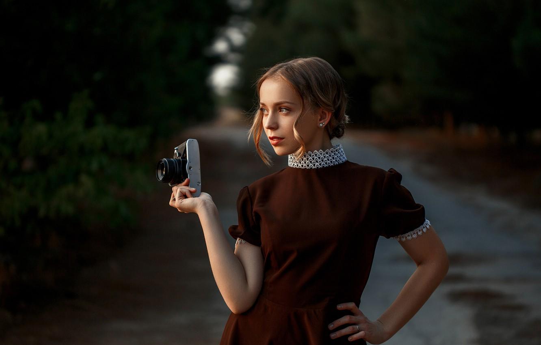 Photo wallpaper girl, pose, dress, the camera
