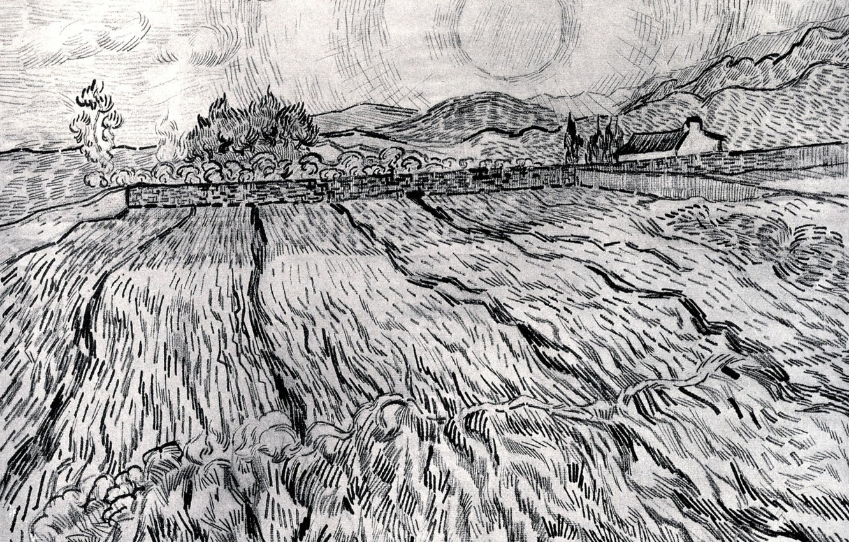Photo wallpaper Vincent van Gogh, Saint-Paul Hospital, Enclosed Field behind