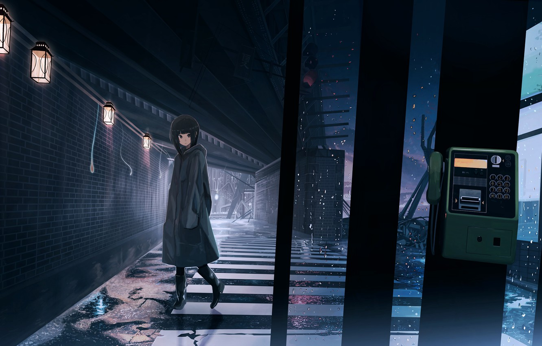 Photo wallpaper girl, rain, street, phone booth, road