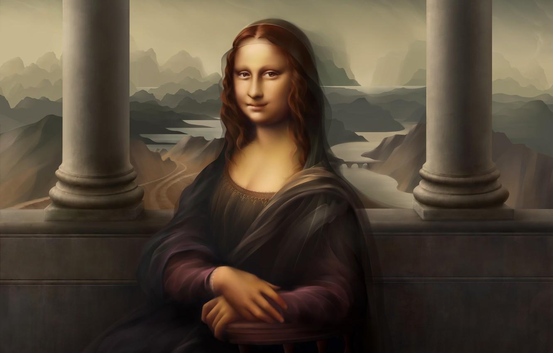 Photo wallpaper picture, The Louvre, Museum, Mona Lisa, Art, mona lisa, L. da Vinci, Leonardo, Leonardo, Digital …
