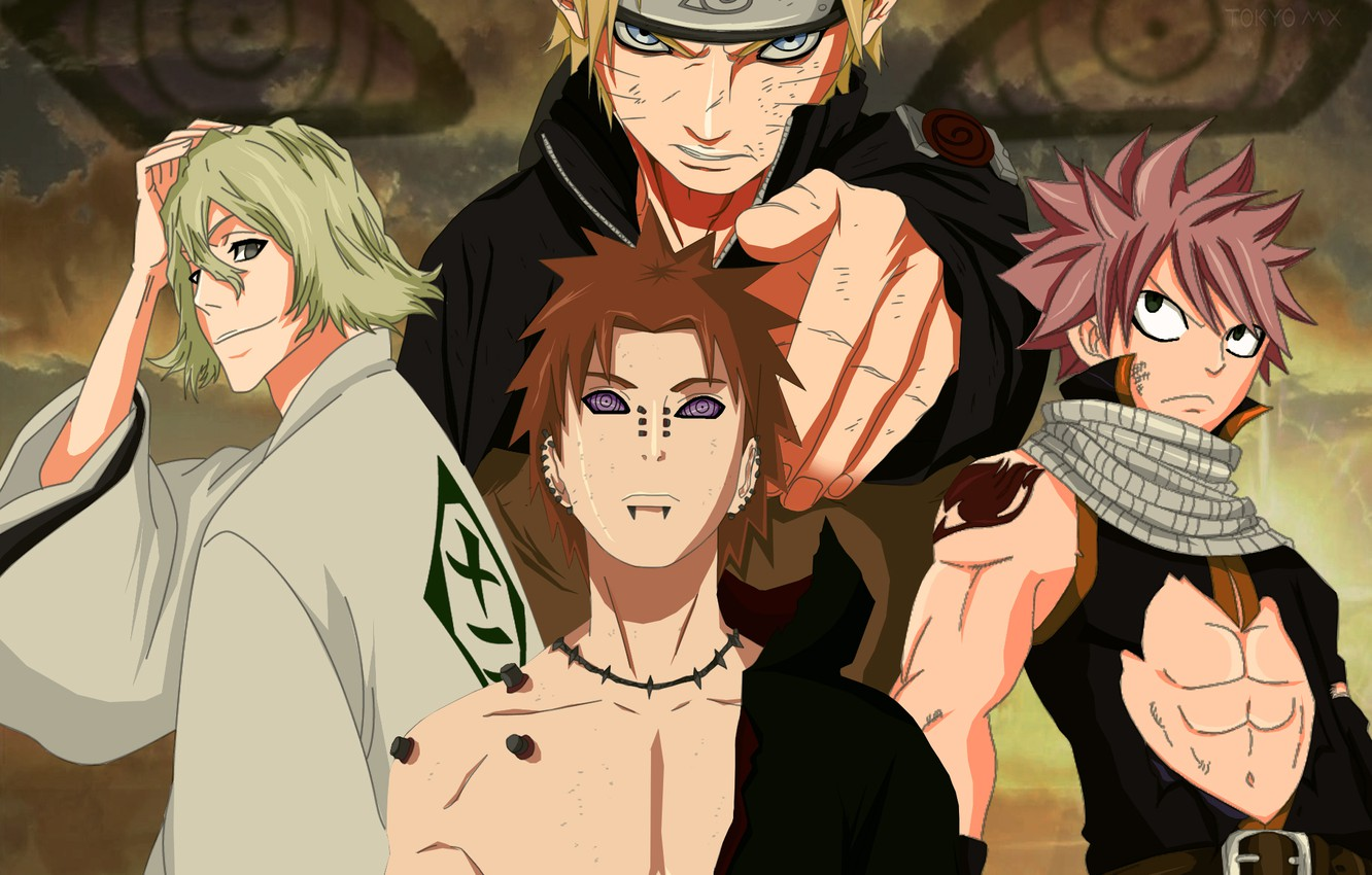 Photo wallpaper guys, heroes, different anime