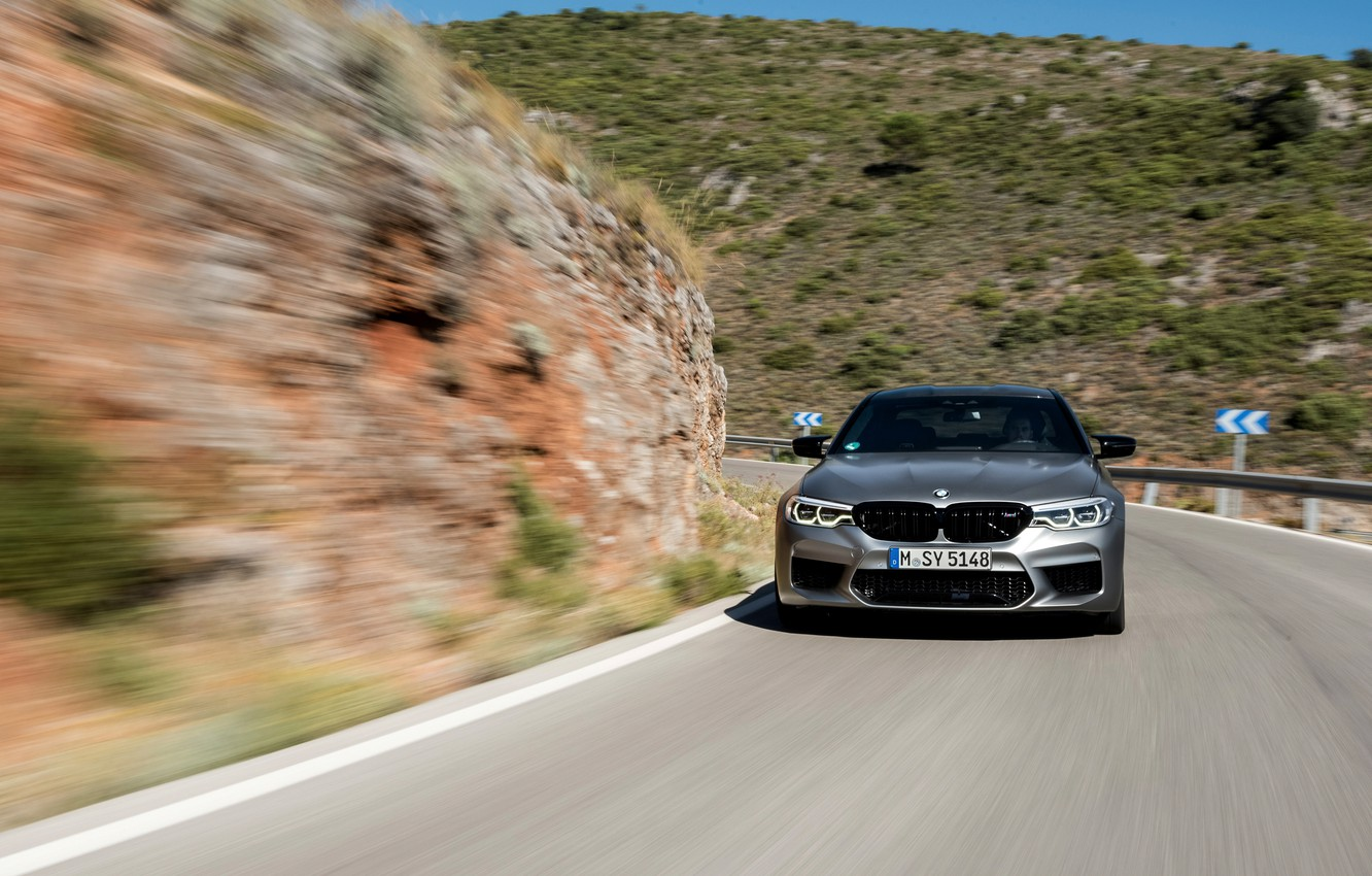 Photo wallpaper grey, movement, BMW, slope, sedan, mountain road, 4x4, 2018, four-door, M5, V8, F90, M5 Competition