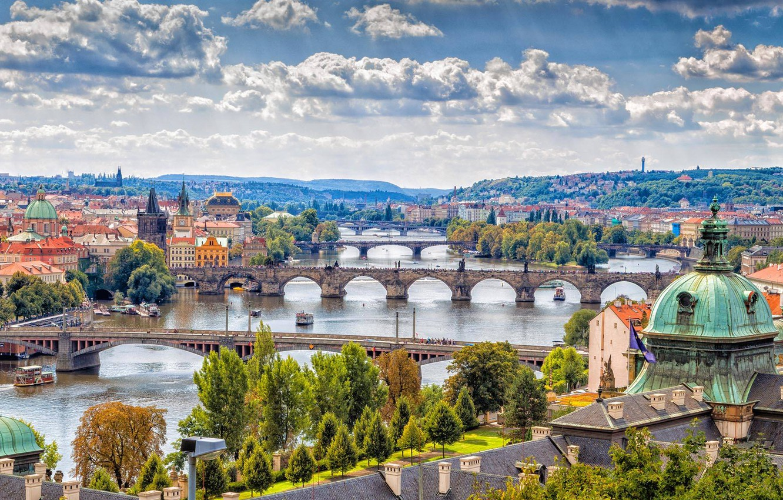 Photo wallpaper river, home, Prague, Czech Republic, panorama, bridges